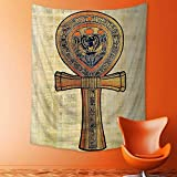 daawqee Decorate Tapestry Wall Hanging Ancient Papyrus Presenting The Key of Life Traditional Pagan Empire Ra Print Cream Bedroom Living Room Dorm Tapestries 130x150 cm Unique Home Decor
