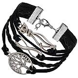 Flongo Pulseras Bohemias Boho Chic para Mujer, Negro Brazalete de Hilos Trenzados Retro Vintage, Infinito Colgante de Gato simpático arbol de Vida, Pulseras de Verano 2017