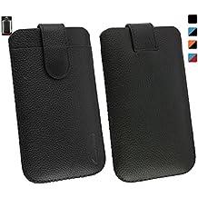 Emartbuy® Bluboo Xtouch Genuine Calfskin Cuero Negro Funda Carcasa Case Tipo Bolsa (Size 4XL) Con Ranura Tarjeta Crédito y Tire Mecanismo Tab