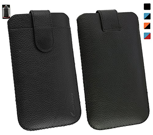 Emartbuy® ZTE Open L Genuine Calfskin Leder schwarz Folie in Tasche Case Hülle Sleeve (Größe 4XL) with CRotit Card Slot und Pull Tab Mechanism