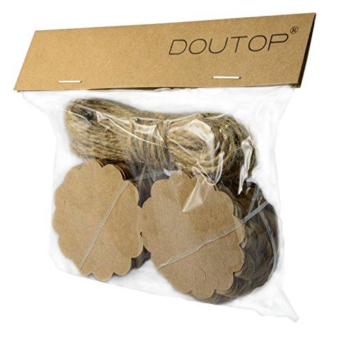 Doutop Geschenkanhänger Weihnachten Etiketten Geschenk Anhänger Braun Biskuit-förmiger mit Jute Schnur Natur Kordel 1000cm