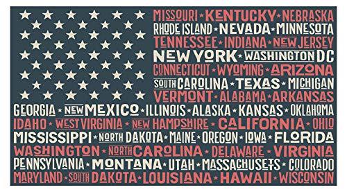 Wandtattoo USA Wandsticker Flagge mit Namen der einzelnen Bundesstaaten Amerika