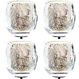 Annastore 4-TLG. Set Teelichtgläser für Gestecke mit 7 cm langem Metallpick - Bauernsilber Gesteckteelichthalter Adventskranzstecker
