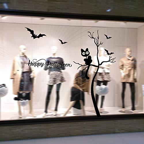 Halloween Baum und Katze Wandaufkleber Wohnzimmer Schlafzimmer Dekoration Aufkleber wasserdicht abnehmbare Kinder Persönlichkeit Ideen (Halloween Baum Ideen Dekoration)
