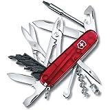 Victorinox Cyber Tool M Couteau de Poche Suisse, Léger, Multitool, 32 Fonctions, Lame, Bits, Tire Bouchon, Rouge Transparent