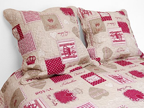 Soleil d'ocre 373093 NADIA Couvre-lit boutis matelassé avec 2 Taies d'oreiller Polyester Rouge 220 x 240 cm