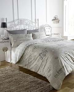 ELEGANT FRENCH SCRIPT BEDDING DUVET QUILT COVER BED SET (double)