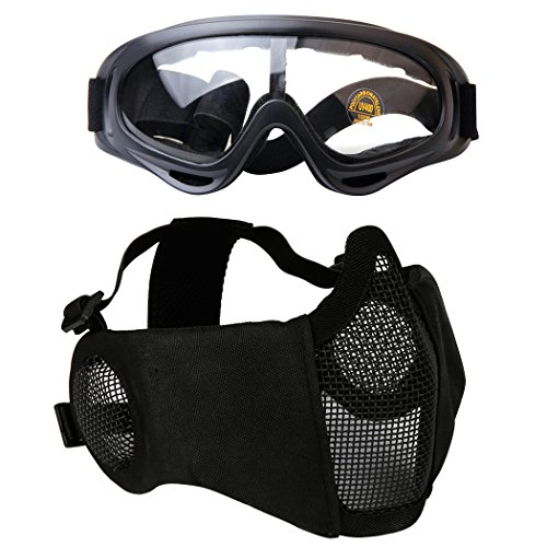 Fansport Paintball Maske, Airsoft Masken Softair Maske Mesh-Maske Airsoft Paintball Maske Schutzbrille Airsoft Taktische Maske Paintball Schutzbrille Klar Stahl Maske üBerbrille Airsoft Mesh Maske