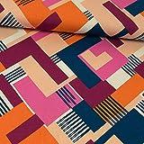 Stoffe Werning Viskosejersey grafisches Muster pink orange