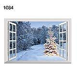 NimbleMinLki 1077 Wandtattoo für Fenster, Weihnachtsmann, Elch, 3D-Dekoration, Kunstleder, 1084