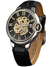 iSweven The new automatic mechanical men's leather belt hollow sports watch Analogue Black Unisex Wrist Watch W1063b