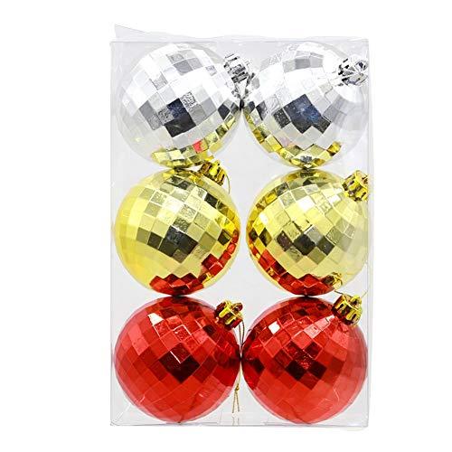 EWQG-Pfanne 6 Stück Weihnachtskugel Dekoration 6cm/8cm, Christbaumkugeln,Kunststoff-Weihnachtskugel-Set, Bruchsicher Weihnachtsschmuck A-Christbaumkugeln (Farbe : Gold and Red and Silver, Size : 6cm)