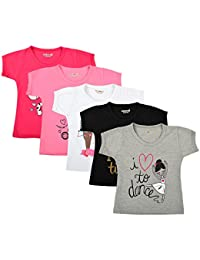 6b9cefa15d0 Kuchipoo Girl s Cotton Regular Fit T-Shirt - Pack of 5