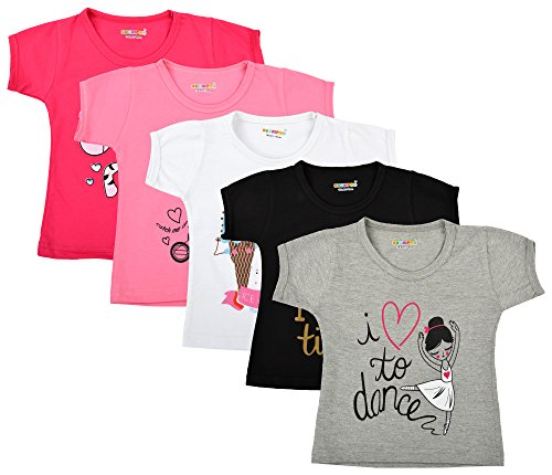 Kuchipoo Girl's Cotton Regular Fit T-Shirt - Pack of 5