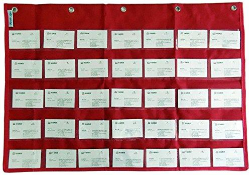 Scuola porta biglietti da visita tascabile Alfabetizzazione grafico di tasche Deluxe, da parete materiale didattico Red
