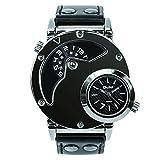 Herren-Quarz-Armbanduhr mit Lederarmband, doppeltes Zifferblatt, Stahl-Gehäuse,Schwarz