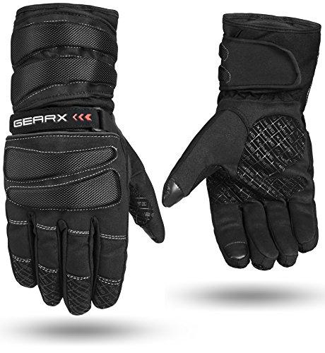 GearX, guanti da moto, con imbottitura impermeabile e termica Black Medium