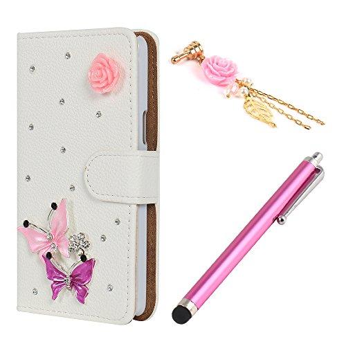 Hunye 3in1 Zubehör Set: 1 x 3D PU Ledertasche mit Strass Steinen Schutzhülle für LG L80 Tasche Etui Cover Schmetterlinge Rosen Muster Flip Case Schale + 1 x Stylus rosa + 1 x 3.5mm Rose Strass Staubschutz