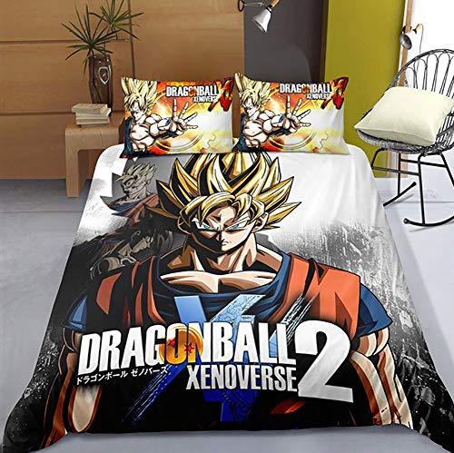 100% poliéster 3D Sets Funda Nórdica Dragonball Z Goku Impresión Sabana Juegos de Cama para niños (Tamaño Completo),AUsingle