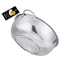 BasicForm Large Size Micro-Perforated Colander with Handle and Base Stainless Steel 28.5cm