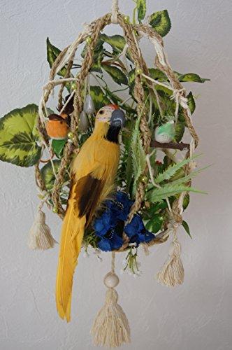 tatjana-land-deko Dekoratives Papagei im Käfig Kunstblumen Wanddekoration Geburtstag Papagei PA2 (NR.4) -