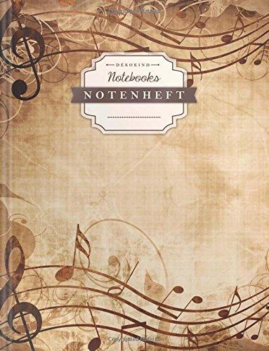 DÉKOKIND Notenheft   DIN A4, 64 Seiten, 12 Notensysteme pro Seite, Inhaltsverzeichnis, Vintage Softcover   Dickes Notenbuch   Motiv: Elegant