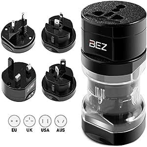 BEZ® Travel Adapter / Reisestecker Adapter / Universal Reiseadapter / Internationaler Stecker [US UK EU AU] 5-Stück Set mit Reisebeutel