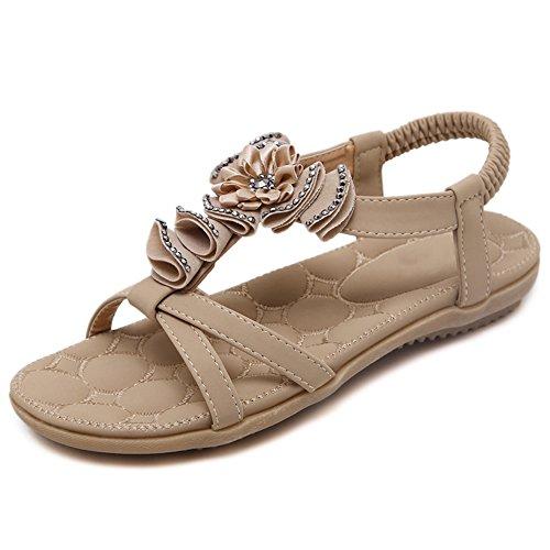 XIAOLIN Sandales femmes national vent strass fond plat talon plat simple étudiant plage chaussures