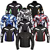 JKT-007 | Waterproof Motorbike Motorcycle Jacket in Cordura Fabric and CE Approved Armour - 6 Packs Design Most Popular (Black & Grey, Large)