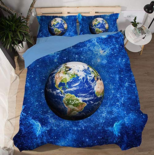 Sallypan 2019Sternenhimmel Bettbezug-Set 3D Earth Planet Universum Galaxy Nebula Tröster Bezug-Set Dekoration 3 Stück Bettwäsche-Set mit 2 Kissen Shams,12,Double200*200cm -