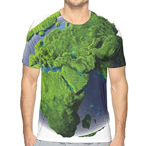 3D Printed T Shirts,World Covered with Lush Green Forest Grass and Blue Waters Eco Nature Concept XXL