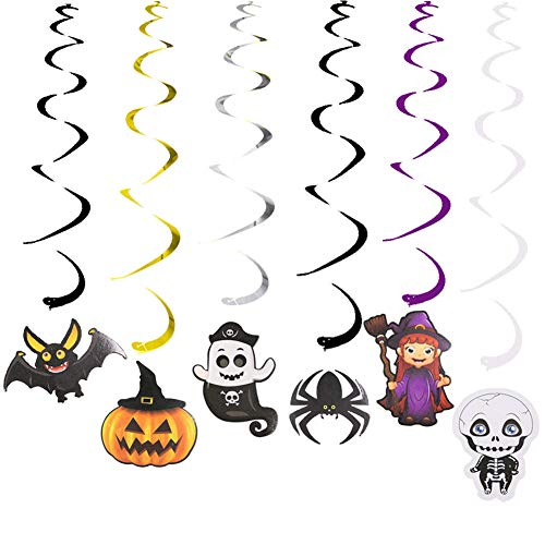 Halloween Decorations Hanging Swirls Kit Ceiling Swirl Decor Included Witches, Skulls, Bats, Spiders, Ghosts, Pumpkins In Cute Design Family Kid Friendly(30 Piece) (Bat House Kit)