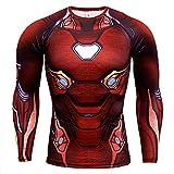 HOOLAZA Avengers Super Heroes Herren Langarm Kompressions T Shirt Herren Joggen Motion Shirt, Iron Man Neu, M