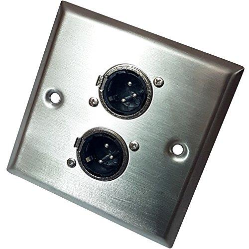 Gebürsteter Stahl Twin (2x) 3Pin XLR Stecker/Stecker Steckdose Metall Wall Face Plate-Verstärker/AMP, Mikrofon/Mikrofon, Lautsprecher, Mixer,-Cablefinder