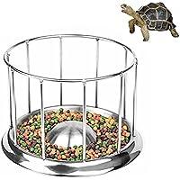 Petacc Tazón Tortuga Alimentador de Tortuga de Acero Inoxidable Alimentador de Reptil de Calidad Alimentaria, Forma de Barandilla Redonda, 5.5 '' Diámetro, S