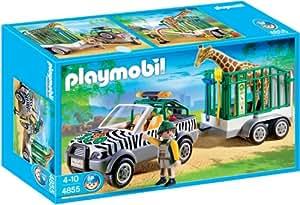 Playmobil - 4855 - Jeu de construction - Véhicule de zoo avec remorque