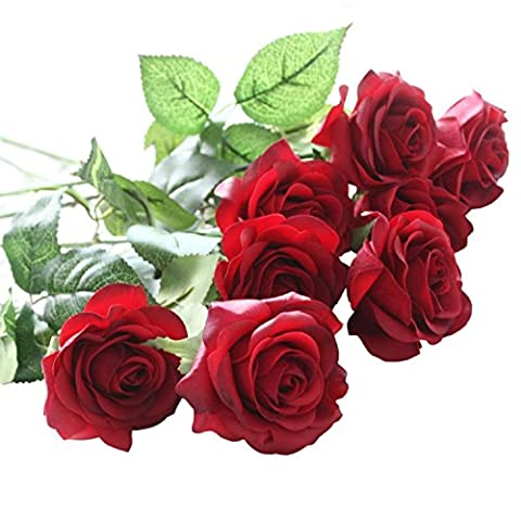 XUE SHI 10 Pcs Artificial Real Touch Silk Rose Flower Bouquets for Vase Wedding Home or Birthday Garden Decorations
