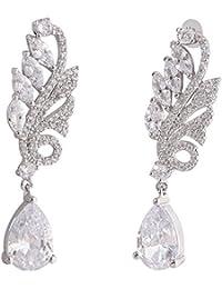 Shaze Brass Silver Rhodium-Plated Sea-Fern Earrings for Women