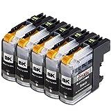 5x Druckerpatronen Kompatibel für Brother LC-123 LC123bk LC 123 Schwarz Black bk mit Brother MFC-J6520DW MFC-J6920DW DCP-J132W DCP-J152W DCP-J552DW DCP-J752DW DCP-J4110DW DCP-J152WR DCP-J172W MFC-J285DW MFC-J4310DW MFC-J475DW MFC-J6720DW MFC-J875DW MFC-J9