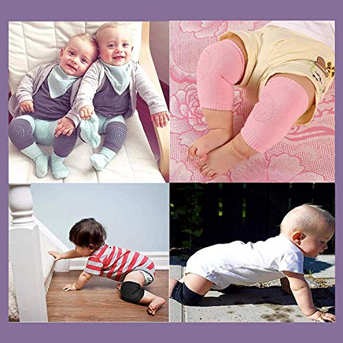 Maharsh Baby Knee Pads for Crawling, Anti-Slip Padded Stretchable Elastic Cotton Soft Breathable Comfortable Knee Cap Elbow Safety Protector (Multicolor) (Pack of 1)