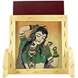 Ganga Craft House Pine Wood Gemstone Mobile Stand Handicraft Home Decorative Panting