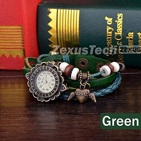 lesmartzyn (TM) Fashion Stile punk donna, fiore pendente angelo in pelle Bracciale orologio analogico donne orologio al quarzo causale Saat - Verde Del Pendente Del Quarzo