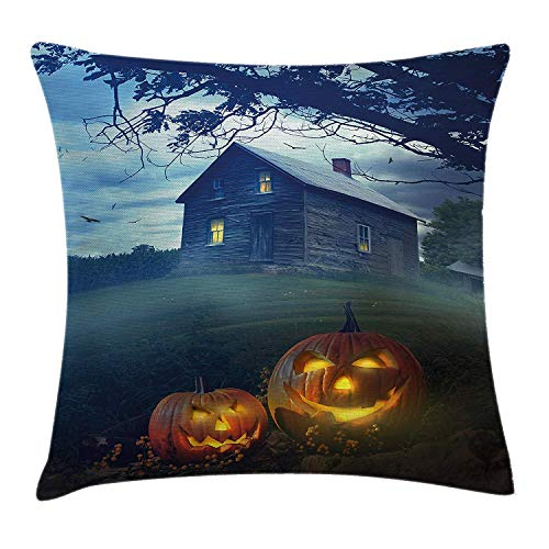 (WYICPLO Halloween Decorations Throw Pillow Cushion Cover, Rustic Wooden Haunted House in Misty Valley with Scary Pumpkins in Dawn, Decorative Square Accent Pillow Case, 18 X 18 inches, Multi)