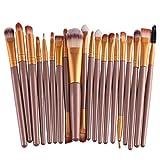 Make-up-Pinsel-Set von Fat.chot, 20 Stück, Holz, Profi-Kosmetik-Set mit Grundierungspinsel, Puderpinsel mit langem Griff, Pinsel für Lippen, Lidstrich und Lidschatten, Pinsel zum Mischen