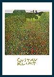 Bild mit Rahmen Gustav Klimt - Mohnwiese K 12 - Holz blau, 50 x 70cm - Premiumqualität - Klassische Moderne, dekorativ, Jugendstil, Pointillismus, Blumen, Blumenwiese, Bäume, bun.. - MADE IN GERMANY - ART-GALERIE-SHOPde
