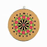 #8: 14-inch Dart Board (Wooden) game by LAVISHTO for kids and adults with a set of 3 darts, multicolor, play outdoor or indoor, double-sided (2 in 1)