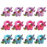 Tumao 12 Stück Einhorn Ringe Silikon Fingerring, Ring-Set für Kleine Mädchen, Kinderschmuck, Mädchen Kinder Geschenkidee .