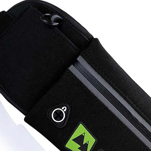 Super Leichte Sport Outdoor Hüfttasche Pack von AdventureAustria. PU überzogenes wasserbeständiges Material Laufen Abenteuer Gurt verwendbar und geeignet für Fitness Radfahren Jogging Wandern Fitness- Schwarz