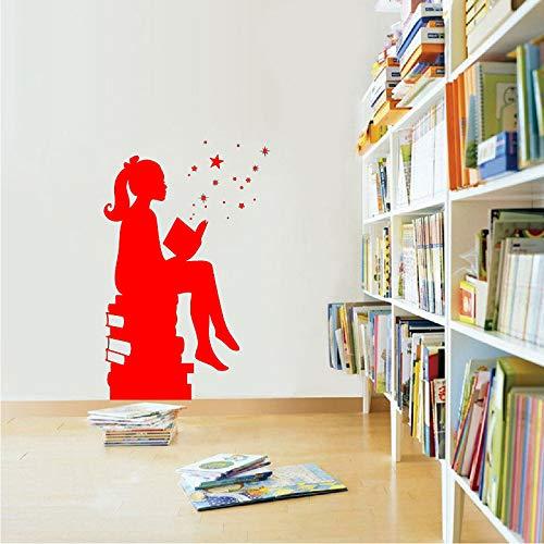 er Magie Wandkunst Aufkleber Bibliotheken Wanddekor Bildung Vinyl Aufkleber Für Schulen Klassenzimmer Wandkunst Dekoration rot 72x40 cm ()