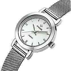 wwoor Frauen 'S Ultra dünnes Mesh-Band Edelstahl Damen Elite Sport Armbanduhr Silber